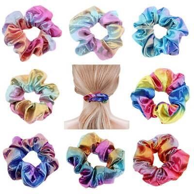 4//8Pcs Shiny Metallic Hair Scrunchies Ponytail Holder Elastic Ties Bands Girls