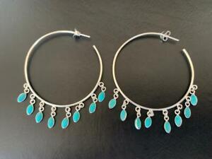 925 Sterling Silver Large Hoop Earrings 50mm Turquoise Gemstone Natural Faceted