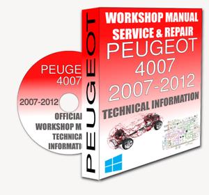 service workshop manual repair manual peugeot 4007 2007 2012 rh ebay ie Peugeot 4007 2011 Peugeot 4008