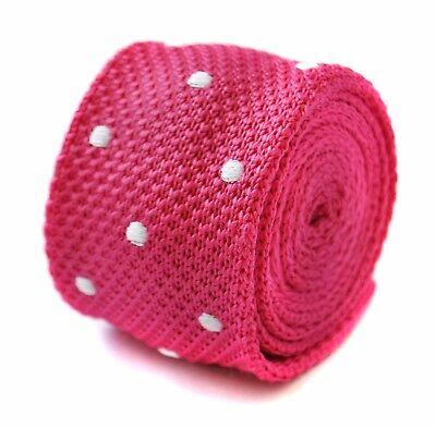 Krawatten & Fliegen Bright Pink And White Polka Spot Skinny Knit Mens Tie By Frederick Thomas Ft2004 Herren-accessoires