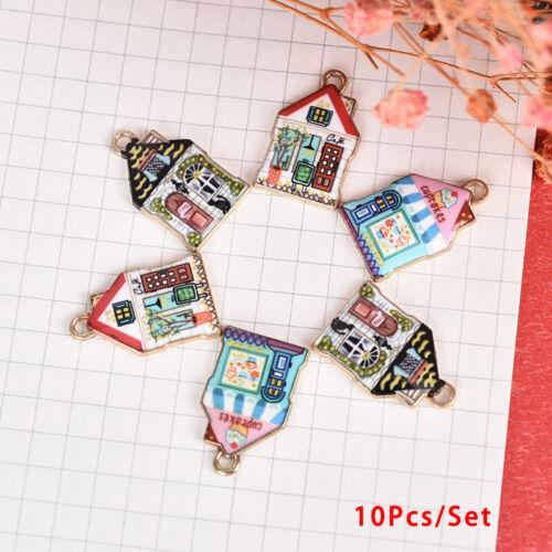 10Pcs//Set Enamel Alloy Cute House Charms Pendant DIY Craft Jewelry Making Gi ji