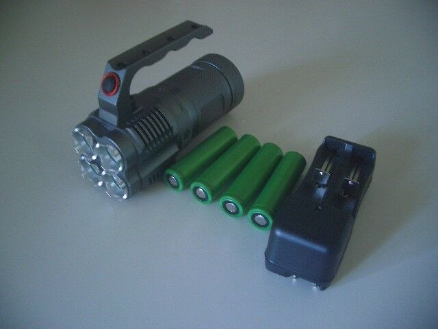 LED Flash Light w 4 Sony Battery 18650 Lithium Rechargeable Batter and Charger