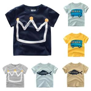 Summer-Toddler-Baby-Kids-Boys-Girls-T-Shirts-Cartoon-Print-Tops-Outfits-Clothes