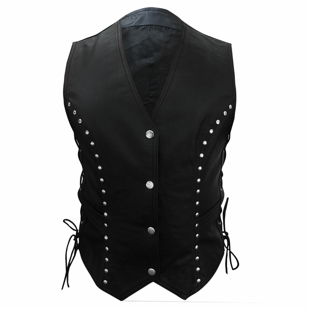 Femme Motards Gilet Authentique Cuir black Gilet