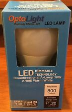 A19 10 WATT DIMMABLE LED BULB EQUIVALENT 60W DIMS FROM 100% TO 10 % - OPTOLIGHT