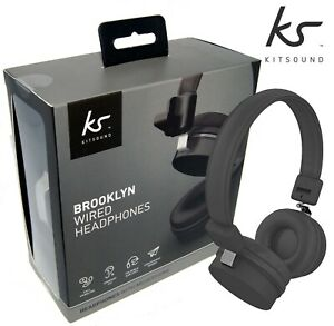 KitSound-Headphones-On-Ear-Brooklyn-Wired-Phone-PS4-Switch-PC-XBox-1-Black-NEW