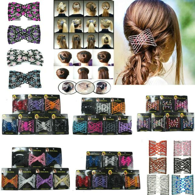 Women/'s Fashion Multi-Wear Magical Hair Comb Easy Stretchy Beaded Hair Comb Clip