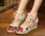 Chinese Embroidered Floral Wedge Heel Shoes Retro Women Ballet Cotton Loafer New