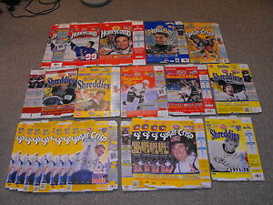 1999-Canadian-Post-Cereal-Lot-of-25-Wayne-Gretzky-NHL-Hockey-Collector-Boxes