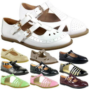Ladies-Geek-Loafers-Women-T-Bar-Buckle-Work-Flats-Girls-Office-School-Shoes-Size
