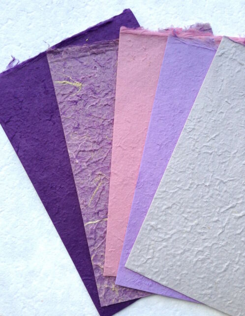 20x Purple Set Handmade Mulberry Saa paper sheets - Scrapbook, Craft, Card