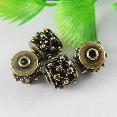 10 Pieces Vintage Bronze Brass Round Hollowed Bead For DIY Charm Pendant Jewelry