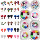 1 Pair Fashion Charm Double Girls Pearl Beads Candy Color Plug Ear Stud Earrings