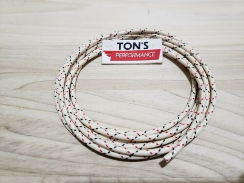 5 feet Vintage Braided Cloth Covered Primary Wire 12 gauge 12g White Black Red