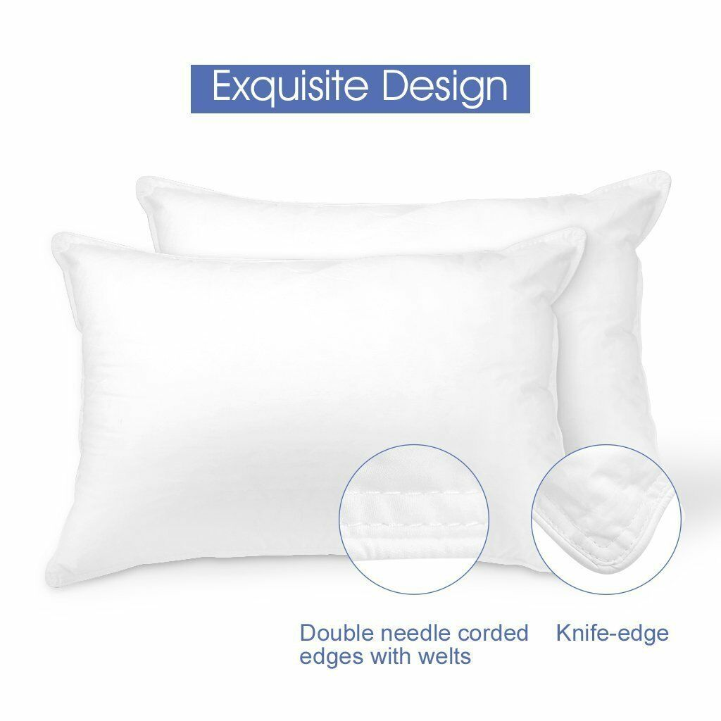 2 Sets Hypoallergenic Pillows Bed King Size Cotton Cool Comfort Sleep Pillow Set