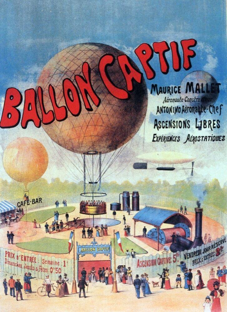 6363.Ballon captif.Hot air balloon.maurice mall.POSTER.wall Home Office art