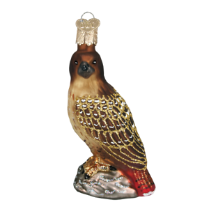 Old-World-Christmas-RED-TAILED-HAWK-16064-N-Glass-Ornament-w-OWC-Box