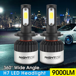 2x nighteye 72w 6500k h7 led luce auto 9000lm faro bianco for Lampadine h7 led