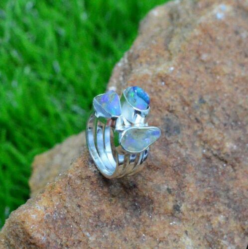 Rough Welo Ethiopian Opal 925 Sterling Silver Gemstone Jewelry Ring
