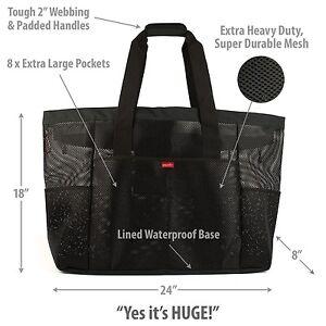 Oahu XL Mesh Beach Bag Tote, Zippered, 8 Lg Pockets & waterproof ...