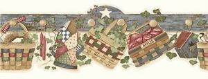 Wallpaper-Border-Country-Baskets-Eggs-Wreaths-Quilt-Candles-Apples-Birdhouse-Ivy