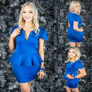 Sz-12-14-Blue-Peplum-Cap-Sleeve-Sexy-Formal-Gown-Party-Wear-Cocktail-Club-Dress