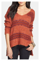 FREE PEOPLE Sz M HIGH/LOW LINUS STRIPE PULLOVER SWEATER Paprika Combo NWT