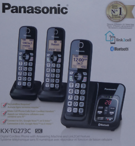 Panasonic-KX-TG273-Cordless-3-Handset-DECT-6-0-Digital-Phone-System-Bluetooth