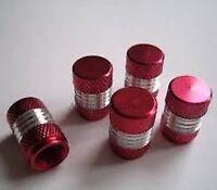 RED CHROME DUST VALVE TYRE WHEEL CAPS AUDI TT 5PCS