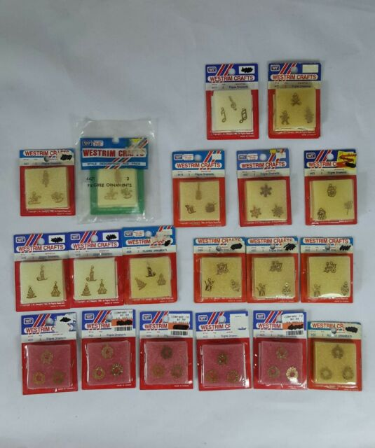 Westrim Beaded Miniature Christmas Tree, Huge 19 Pkg Lot Gold Filigree Ornaments