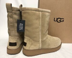 72b2c0aca02 Details about UGG Australia CLASSIC SHORT WATERPROOF SHEEPSKIN Sand Suede  BOOTS 1017508