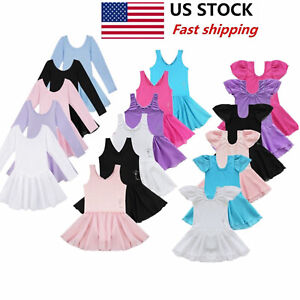US-Girls-Gymnastics-Ballet-Dress-Kids-Leotard-Tutu-Skirt-Dance-Ballerina-Costume