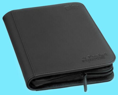 ULTIMATE GUARD BLACK 4 POCKET XENOSKIN ZIPFOLIO Card Storage BINDER Page Album