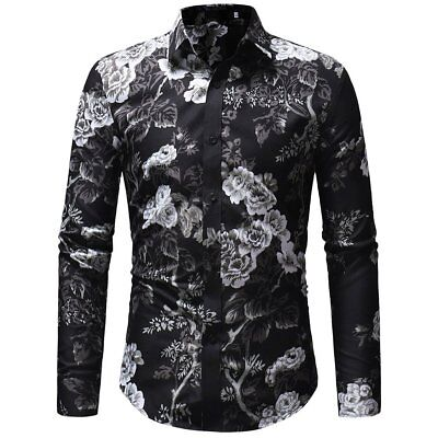 Men/'s Casual Long Sleeve Button Down T-shirt Tops Slim Fit Xmas Dress Shirts US