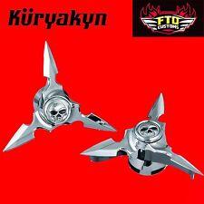 Kuryakyn Chrome Spun Blade Spinning Axle Caps '84-'06 Touring 1235