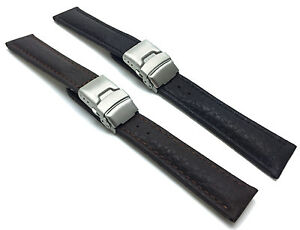 20-22-24mm-Genuine-Leather-Watch-Strap-Band-Deployment-Clasp-Buckle-2-Colors