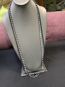 "Vintage Chicos Black Rhinestone 2 Strand Ling Chain Necklace Boho Bohemian 36"""