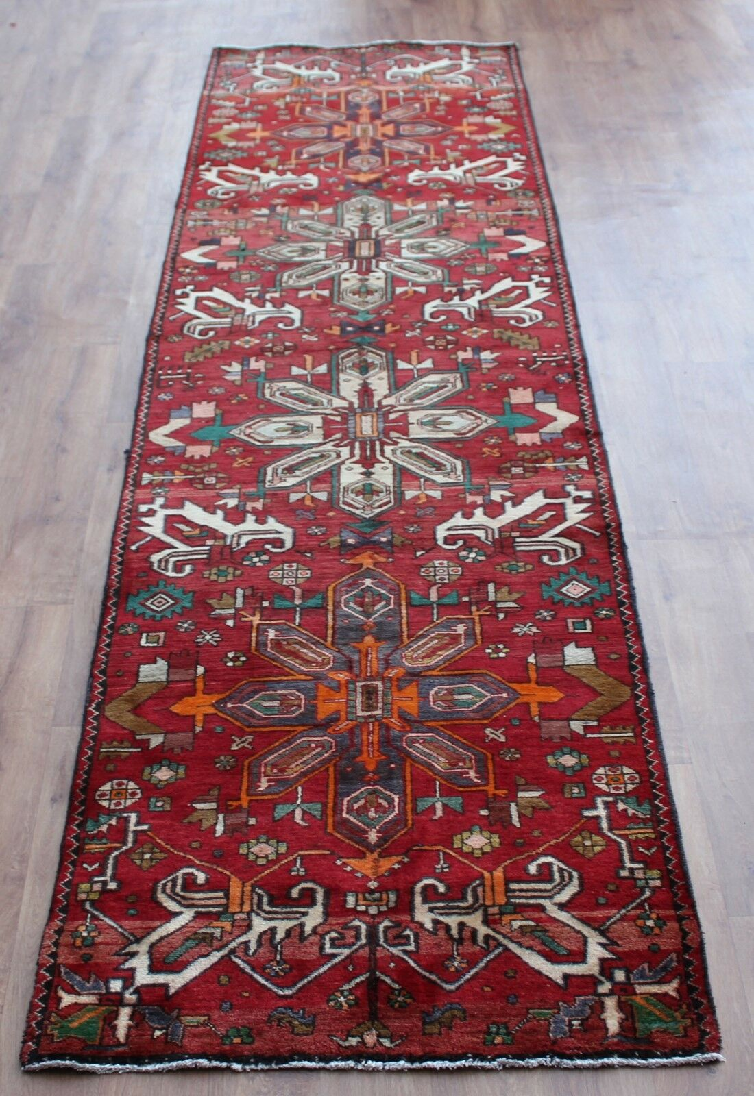 Traditionnel Fait Vintage Laine Fait Traditionnel Main Classique Oriental Area rug carpet 410X92cm1753 c04531