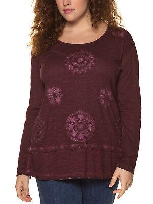 ULLA POPKEN Magenta FLORAL Print Cotton Jersey Tunic Top Plus Size 20//22-36//38