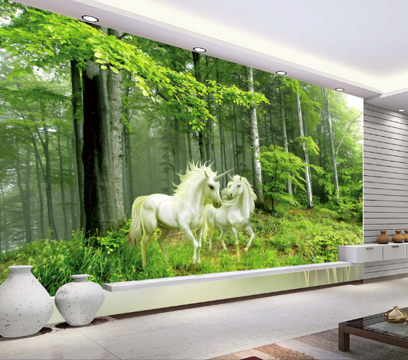 3D Forest Unicorn Weiß Paper Wall Print Wall Decal Wall Deco Indoor Murals