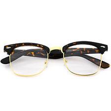 Tortoise Gold Vintage 80s Clubmaster Clear Lens Hipster Nerd Glasses New