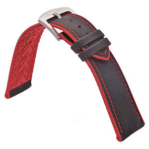 Nylon-Canvas-Red-Rubber-Pad-Watch-Strap-stitching-19mm-20mm-21mm-22mm-23mm-24mm