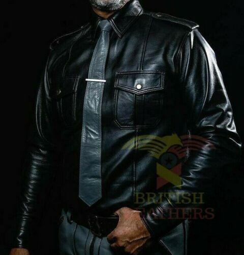 Attrayant Homme Garçons Chaud Police Uniform Shirt Véritable Souple Cuir D/'AgneAu Cuir