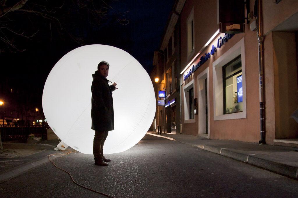 Ballon éclairant helium air ( spectacle ) eclairage