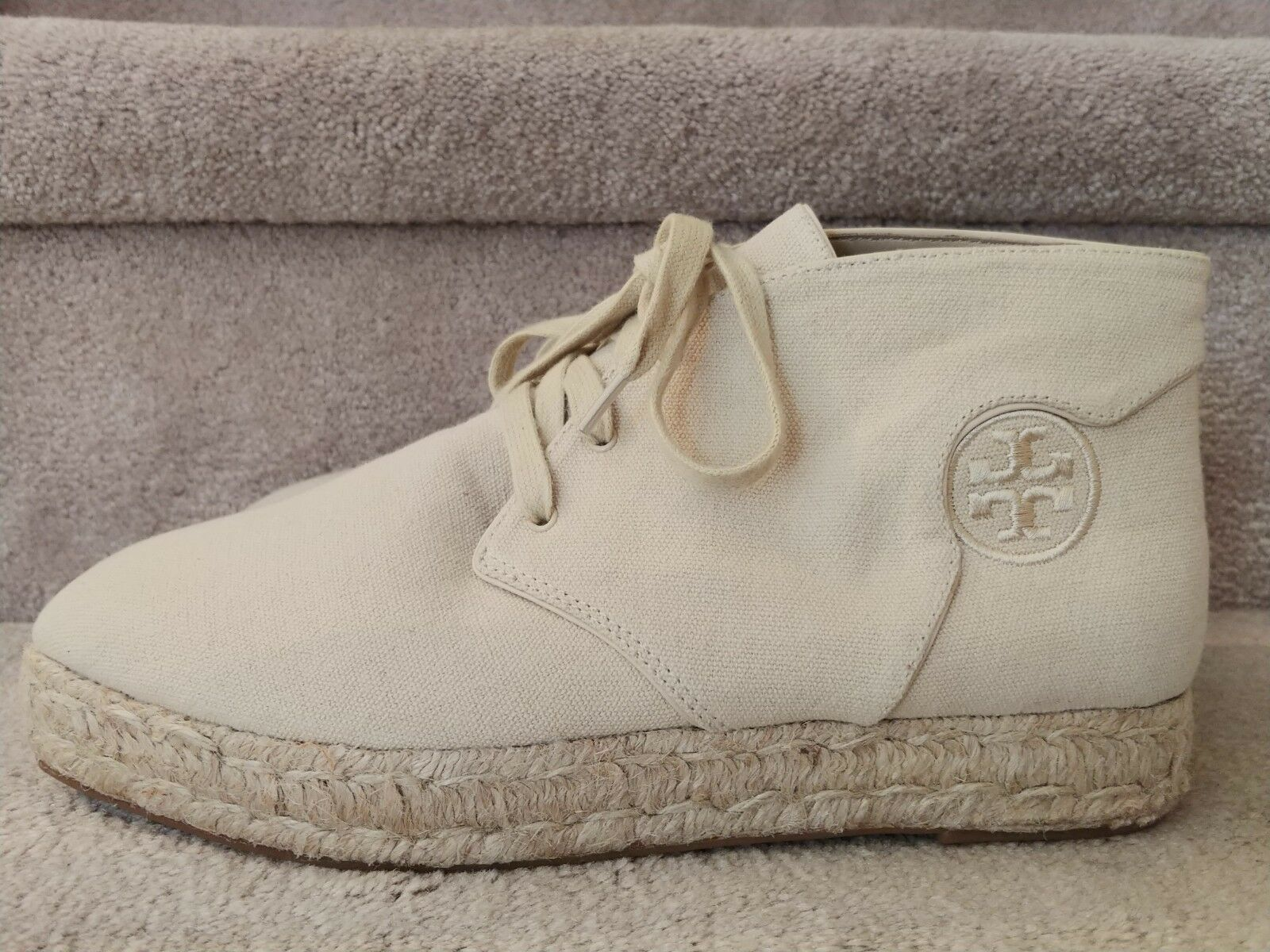 Tory Burch Canvas Dulce de Leche Rios Espadrille Lace up Bootie NEW Size 9
