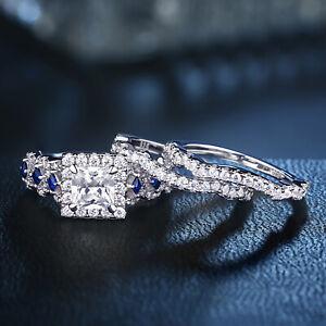 Newshe-Engagement-Wedding-Ring-Set-925-Sterling-Silver-2-5ct-Princess-Cz-Blue