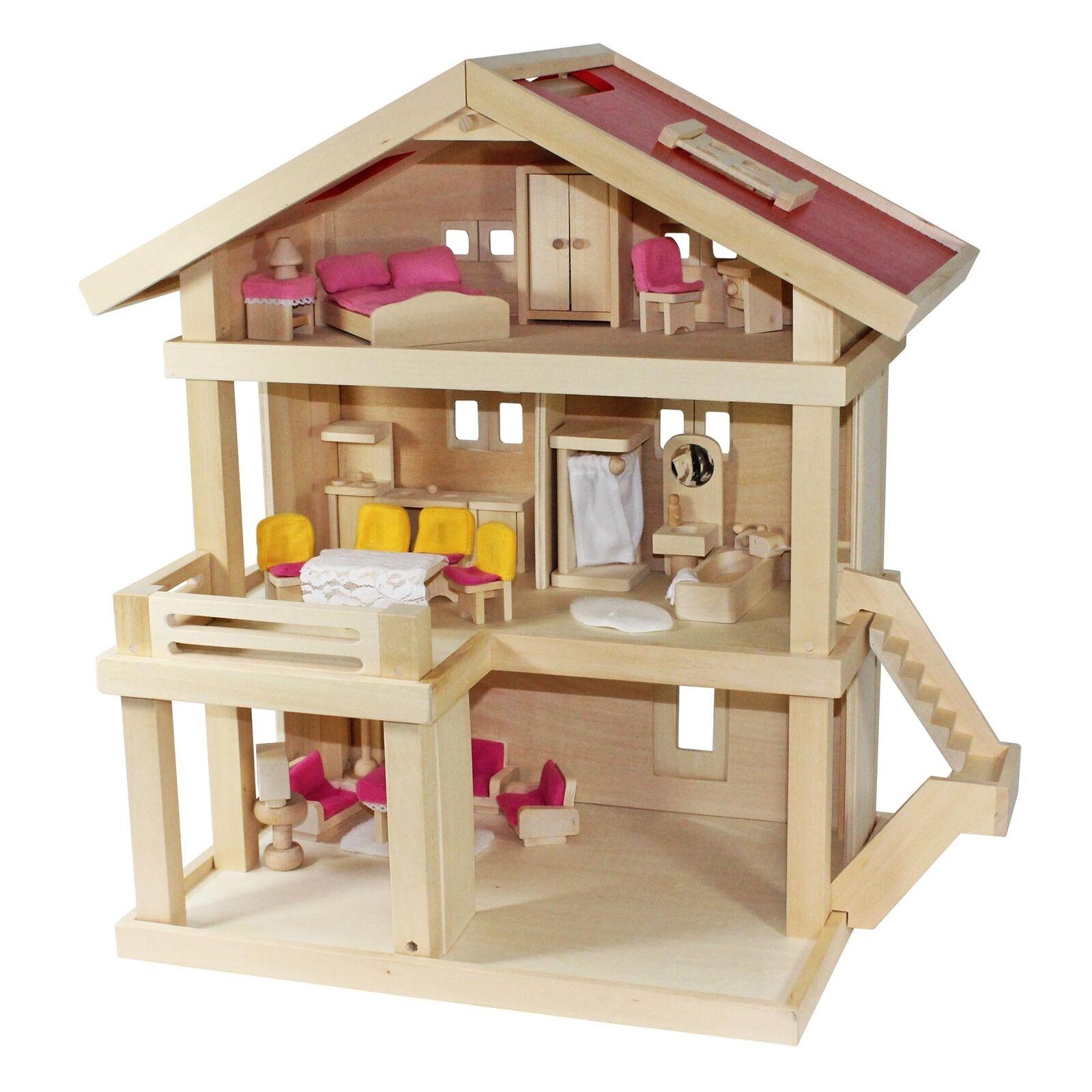 Villa Freda rosé casa delle Bambole Villa Città + COPERTINA + bambole mobili in legno 46x35x58 cm
