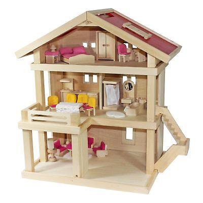 Villa Freda rosé Puppenhaus Stadtvilla + Hussen + Puppenmöbel Holz 46x35x58 cm