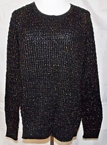 Gap-Sweater-Chunky-Ribbed-Knit-Black-Copper-Metallic-Long-Sleeve-size-Large-NWT