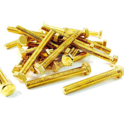 M10 10mm SOLID BRASS FULLY THREADED SET SCREWS HEXAGON HEX BOLT DIN933